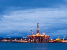 Oil rigs, North Sea oil, Scotland, UK