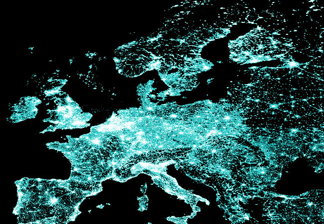 Europe at night 2002 by Nasa