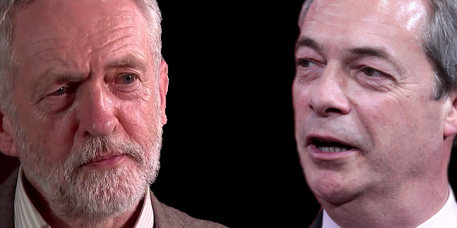 Nigel Farage and Jeremy Corbyn, via Gage Skidmore and Global Justice Now