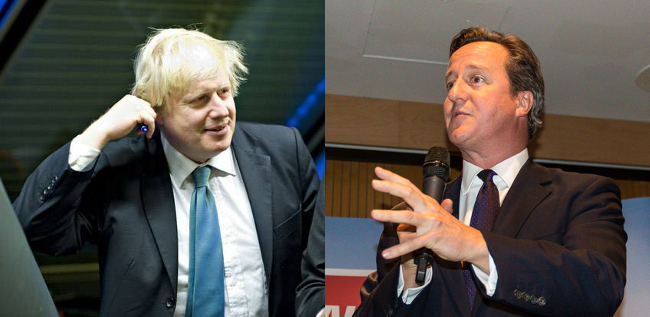 David Cameron, September 2014 by Gareth Milner, and Boris Johnson, July 2013 by Ian Burt
