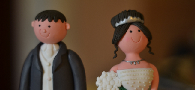 Bride and groom figurines, June 2012 by David Precious